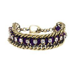 Crystal Studded Ribbon Chain Bracelet
