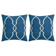 Check out this item at One Kings Lane! S/2 Lattice Cotton Pillows, Blue