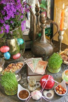 Haft-Seen (Persian: هفتسین) or the seven 'S's is a traditional table setting of Nowruz, the traditional Iranian spring celebration. The haft seen table includes seven items all starting with the letter S (س) in the Persian alphabet. Persian Alphabet, Iranian New Year, Haft Seen, Persian Culture, Nouvel An, Table Settings, Traditional, Holidays, Yalda Night