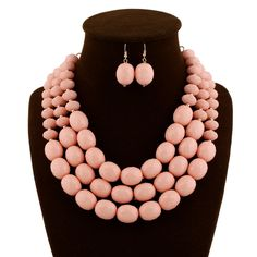 Wholesale Pink Necklace And Earring Jewelry Set
