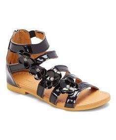 Black Floral Gladiator Sandal