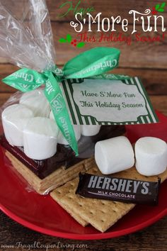 S'Mores Gift Bag with FREE Holiday Gift Tag Printable - Easy Christmas Gift Idea on Frugal Coupon LIving.