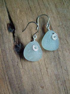 Seafoam Sea Glass Earrings