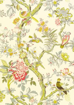 PAPAGAYO, Cream, T6059, Collection Anniversary from Thibaut