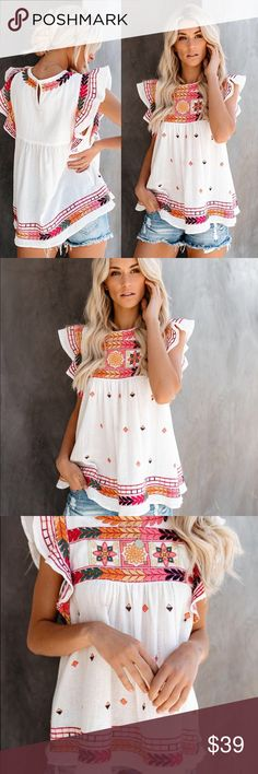 NWOT VICI Desert Folk Embroidery White Flutter Top Size Large.  Never worn. Vici Tops Blouses