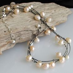 trio of waxed linen strands with pearls and sterling silver