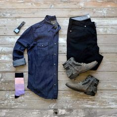 Check out links to purchase this wardrobe staple Hart N Dagger Denim Work Shirt and Black Chinos by Loyal Collective!