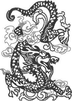Black dragon- machine embroidery design