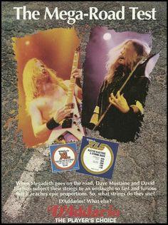 Megadeth Dave Mustaine David Ellefson for D'Addario XL guitar strings 8 x 11 ad Dave Mustaine, Marty Friedman, Learn Acoustic Guitar, Derek Trucks, David Ellefson, Guitar Magazine, Pin Up Photos, Guitar Strings, Thrash Metal