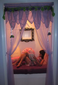 #Children #Readingnook completed by Moss Home Services- a child's extra closet was converted into the perfect reading nook filled with whimsy
