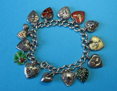 Vintage Sterling Silver Puffy Heart Charm Bracelet - Rare Charms