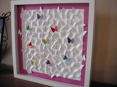 3D Wall Art White and Colorful Butterflies - frame and glass included. $55.00, via Etsy.