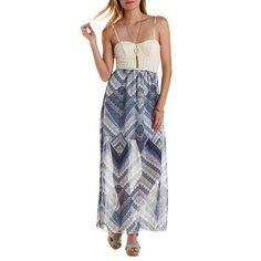 Crochet & Chevron Maxi Dress