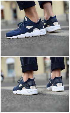 Nike Air Huarache: Midnight Navy/Obsidian/White
