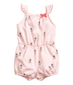 Check this out! Jumpsuit in soft cotton jersey with a printed pattern. Elastication and decorative bow at top. Ruffled shoulder straps, elasticized seam at waist, and short legs with elasticized hems. - Visit hm.com to see more.