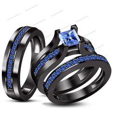 2.30CT.T.WBlue Sapphire 14K BlackGold Finish 925 Silver Engagement Trio Ring Set #WeddingEngagementAnniversaryBrithdayPartyGift