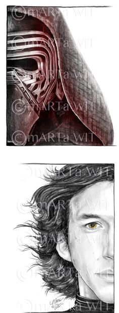 Faces of Kylo Ren, set of (2) 5X7 prints, signed, by Marta Wit