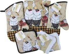 Home Store Chef Themed Kitchen Accessories Oven Mitts Towels Dish Cloths Pot