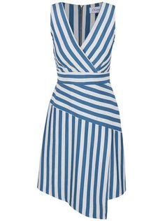 Closet - Šedo-modré pruhované šaty s překládaným výstřihem - 1 Day Dresses, Casual Dresses, Dresses For Work, Fashion Drawing Dresses, Fashion Dresses, Batik Dress, Striped Fabrics, Classy Outfits, Dress Patterns