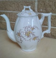 Imperial China Karlsbad Austria Porcelain Teapot / Coffee Pot White with Brown and Yellow Floral Pattern -Antique by ClassyVintageGlass on Etsy