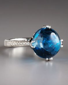 Jelly Bean Blue Topaz & Diamond Ring by Frederic Sage