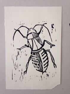Illustration Woodprint - print on heavy paper Franz Kafka - metamorphosis / die Verwandlung Christoph Hillus / Germany