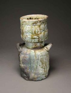Shigaraki, anagama, ten-day anagama wood firing, with natural ash deposits Iga flower vase. igahana-12