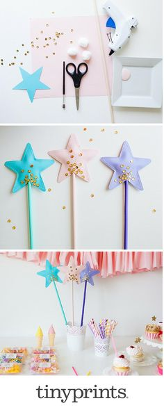 DIY Birthday Princess Party Wand: @aruffledlife shares her adorable and affordable princess wand DIY. These wands are magical and just perfect for your pint-size princess party theme. Visit the blog for the full tutorial.