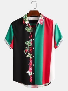 Loose Shirts, Printed Shirts, Mens Fashion, Fashion Outfits, Shorts With Pockets, Color Stripes, Looks Cool, Mens Clothing Styles, Cotton Shorts