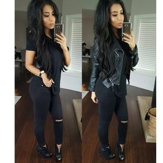 "@itsmsmonica on Instagram: ""All black everything  t shirt & jeans  can't wait for this rain to go away and shoot real pictures  @bellamihair #khaleesi extensions in off black use code monica to save T shirt @laurasboutique Jacket @2020ave Jeans @fashionnova promo code xoitsmonica Booties @gojane"""