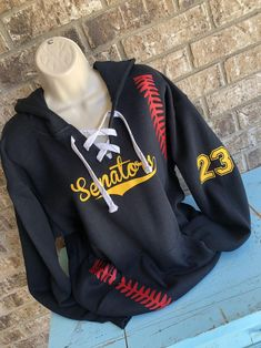 Baseball Hoodie with lace up front and baseball laces on the sides - team NAME on Front Softball Mom, Baseball Mom, Kangaroo Pouch, Sports Mom, Team Names, Small Things, Hoodies, Sweatshirts, Mornings