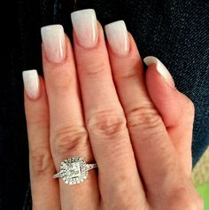 Subtle white to nude ombre gel acrylic nails. Square with slight flare. Bridal wedding nails. Modern version of a French mani