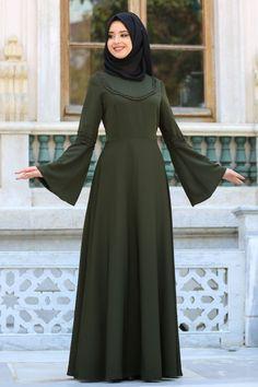 Dresses - Khaki Hijab Dress 41580HK