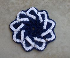 Hand Crocheted Blue and White Flower Star Pot by lovelylovedesigns, $15.00