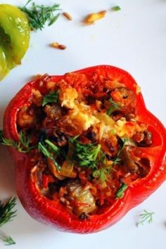 Peppers Stuffed with Chicken and Eggplant