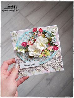 Handmade Thank You Card, Thank you, 3D greeting card, for someone special, 6x6 card, blank card, many thanks, blue & red colour
