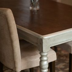 DIY: How to Two Tone a Table -- Silver and Dark Wood Glam