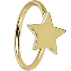 "20 Gauge 5/16"" Solid 14KT Yellow Gold Star Hoop Ring 