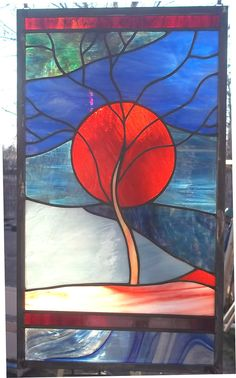 "Stained Glass Window Panel Flaming Sun setting over the Mountain ""Midnight Blues"" on Etsy, $179.00"