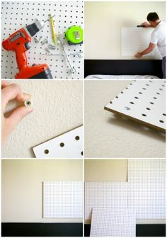 DIY pegboard headboard perfect for decorating a kid's bedroom to accommodate their ever-changing 'favorites'