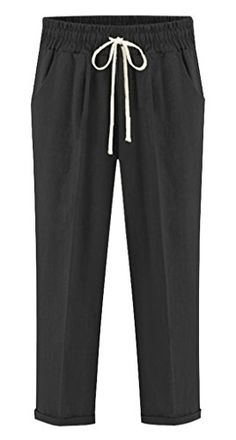 New Trending Pants: Chartou Womens Casual Elastic Waist Loose Cropped Beach Capris Pants (Medium, Black). Chartou Women's Casual Elastic Waist Loose Cropped Beach Capris Pants (Medium, Black)   Special Offer: $21.90      188 Reviews Fabric: cotton and spandex blendedDetail: casual stretch waist shorts with drawstring for a comfortable fitSolid color, rolled-cuff and slant pockets, pleated...