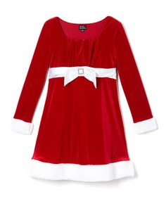 This Red & White Belted A-Line Dress - Girls is perfect! #zulilyfinds