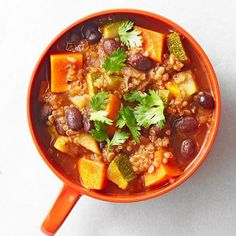 Quinoa Harvest Chili: Quinoa boosts this healthy soup's protein, but you can use other grains such as bulgur wheat or barley.    More soup and stew recipes: http://www.midwestliving.com/food/soups/simmering-soups-stews-recipes/page/39/0