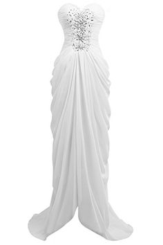 Queenmore Womens Sweetheart Chiffon Cocktail Party Prom Dress Front Slit US2 White * BEST VALUE BUY on Amazon