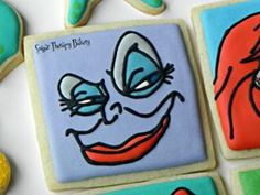 The Little Mermaid sugar cookies for a little girl's birthday party made by Sugar Therapy Bakery