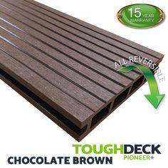 Chocolate Brown Wood Grain WPC Decking Board - Pioneer+ Wpc Decking, Composite Decking, Pioneer Decks, Wood Grain Texture, Brown Wood, Chocolate Brown, Grains, Boards, Planks