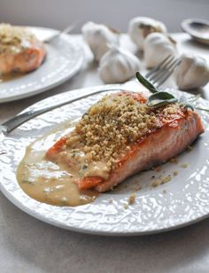 Crispy pan seared salmon with light dijon cream sauce and garlic butter bread crumbs. Oh boy.