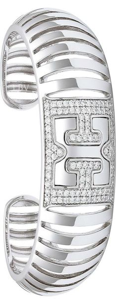 ~Escada - Cubic Zirconia & Sterling Silver Bar Cuff | House of Beccaria