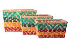 One Kings Lane - The Moroccan Bath - S/3 Jute Baskets, Teal/Orange/Red