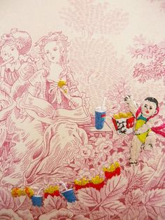 SHUYU LU ~ The Picnic No.06 (Chinese images embroidered onto 18th century Toile de jouy.)